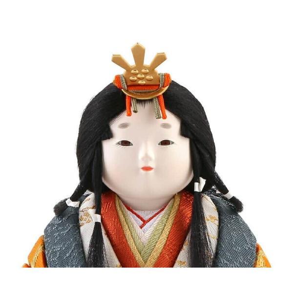 雛人形 幸一光 ひな人形 コンパクト 木目込み 平飾り 親王飾り 小雪 目入頭 屏風E 正絹 アクリル足付飾台 h313-koi-432e|2508-honpo|05