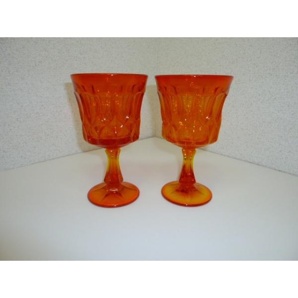 レトロ オレンジガラスの足つきグラス 2客セット 中古 気泡 ギヤマン|25dou