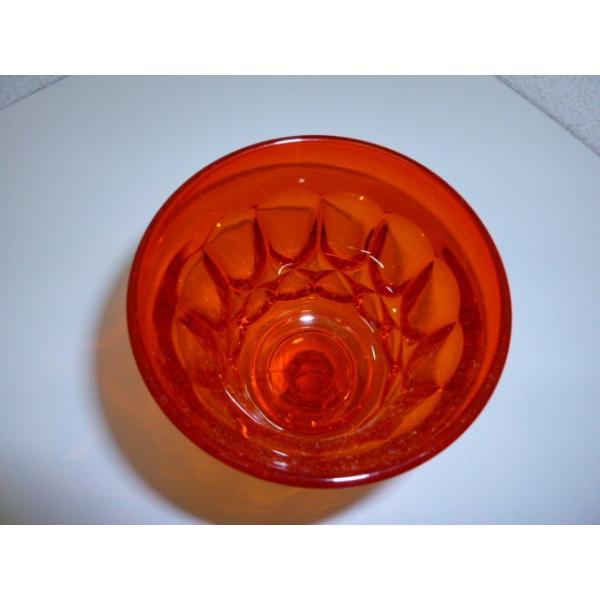 レトロ オレンジガラスの足つきグラス 2客セット 中古 気泡 ギヤマン|25dou|03