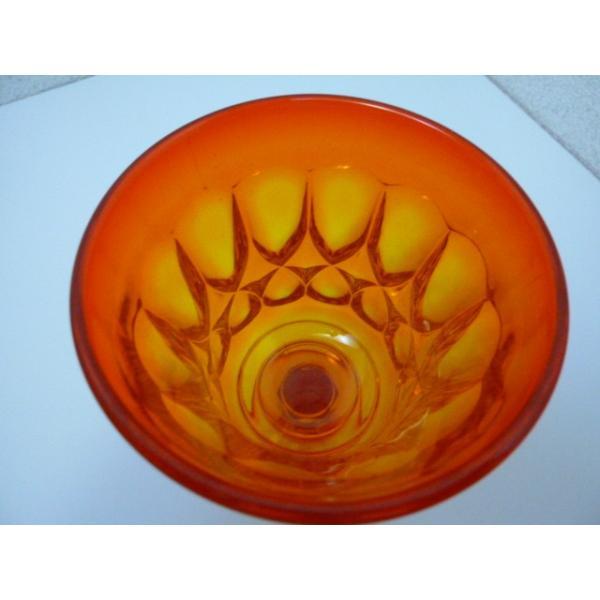 レトロ オレンジガラスの足つきグラス 2客セット 中古 気泡 ギヤマン|25dou|05