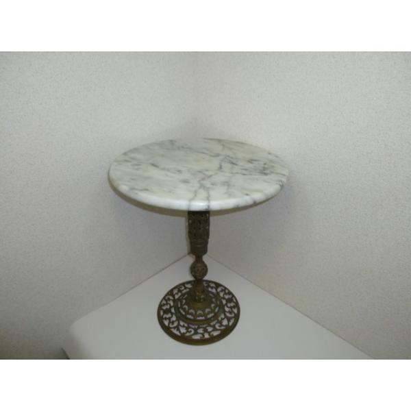 大理石ミニテーブル 中古 少しグラつきあり サイドテーブルや花台にもどうぞ! 25dou