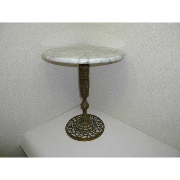 大理石ミニテーブル 中古 少しグラつきあり サイドテーブルや花台にもどうぞ! 25dou 02