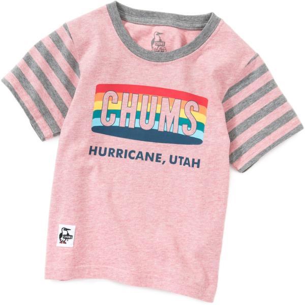 CHUMS チャムス キッズ Tシャツ Kid's Rainbow Logo T-Shirt|2m50cm|09