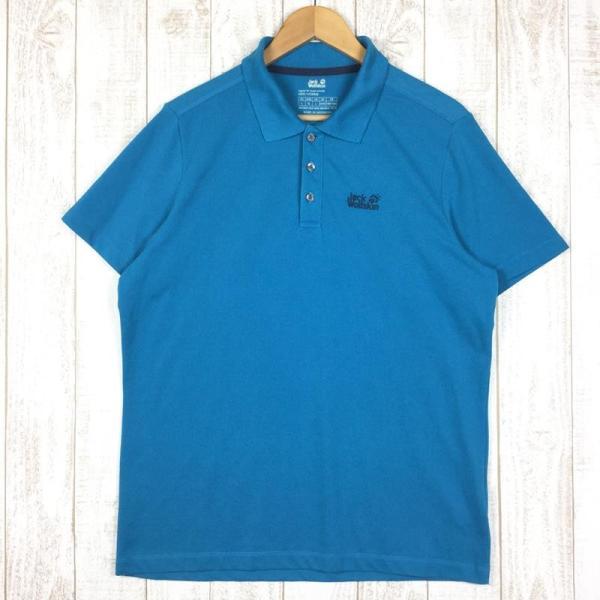 ジャックウルフスキン JACKWOLFSKIN ピケF65 ポロシャツ  International MEN's L ブルー系|2ndgear-outdoor