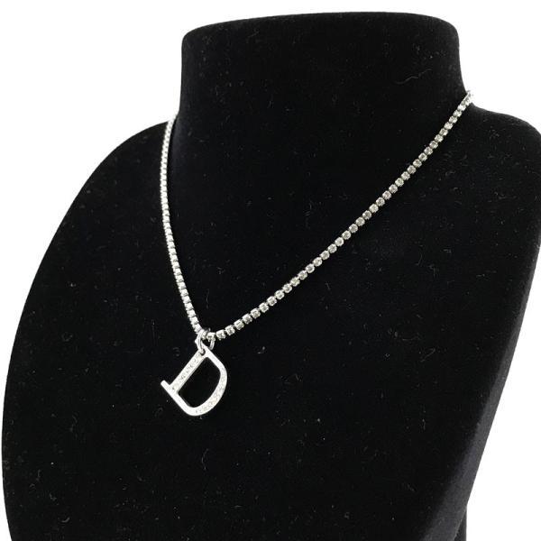 750716193c3 クリスチャンディオール ネックレス Christian Dior ペンダント Dロゴ ラインストーン 真鍮 シルバー D29324|2ndhands  ...