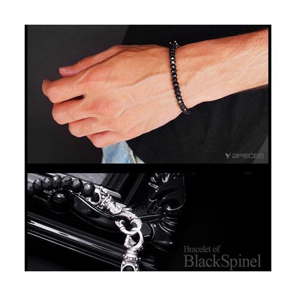 送料無料  ブラックスピネルブレスレット メンズブレスレット b0600|2pcs|06