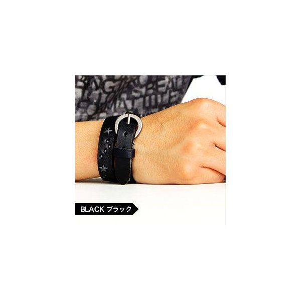 メール便なら送料無料  レザーブレスレット メンズ・レディース スター・星 スタッズ 皮・革 2連・2重巻き gobr0007 腕周り約14.5〜17cm|2pcs|05