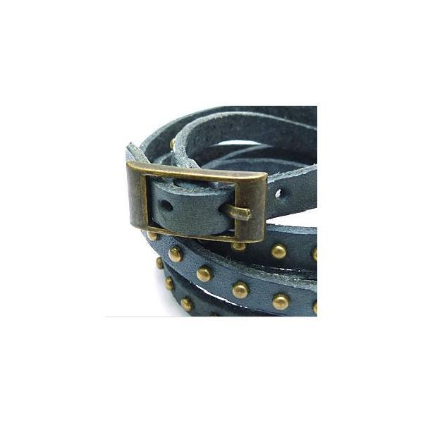 メール便なら送料無料  レザーブレスレット メンズ・レディース スタッズ 皮・革 5連・5重巻き ヴィンテージ風 gobr0014 腕周り約15〜17cm(5連)|2pcs|02