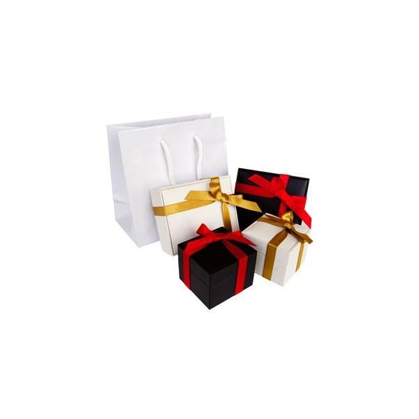 有料ラッピング ギフトボックス ホワイト ブラック リボンを巻いた光沢のある箱 手提げ袋付き so0000|2pcs