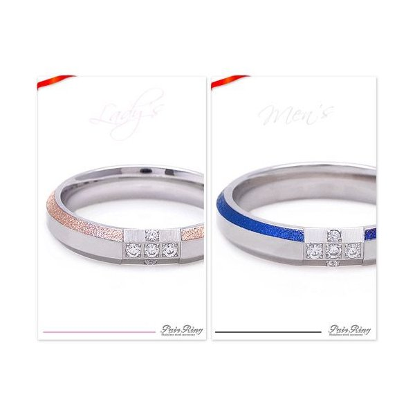 送料無料  ペアアクセサリー ペアリング ステンレス クロス ブルー ピンク sr0139-pair BOX付きペアセット|2pcs|04