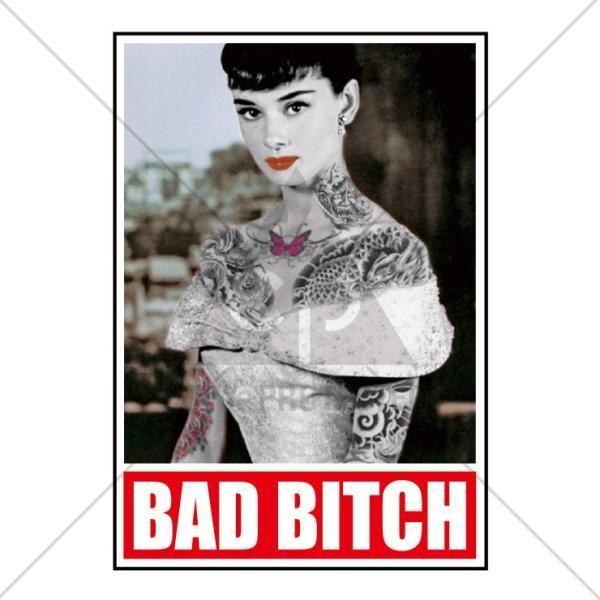 パーカー メンズ レディース スウェット プルオーバー バックプリント おしゃれ BAD BITCH Tattoo オードリー・ヘップバーン タトゥー|301-shop|02
