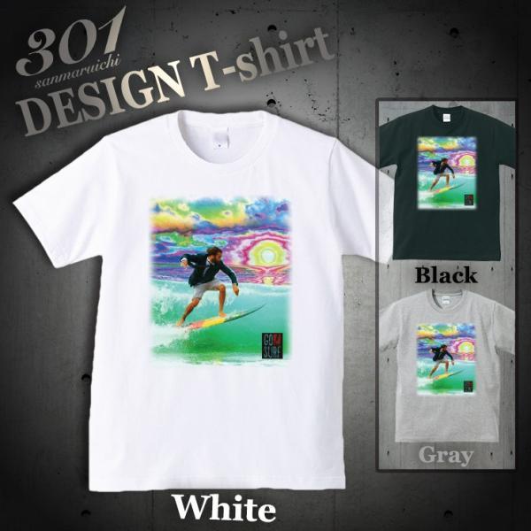 Tシャツ メンズ 半袖 ブランド ユニセックス GO SURF サイケデリックサン サーフ サーフィン Hawaii ハワイ Uネック プリントTシャツ|301-shop