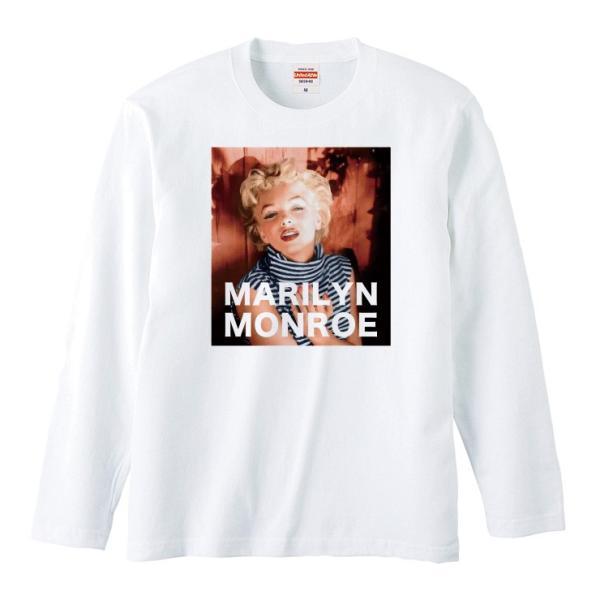 Tシャツ メンズ ロンT 長袖 ユニセックス クルーネック Uネック マリリンモンロー レトロ おしゃれ|301-shop|02