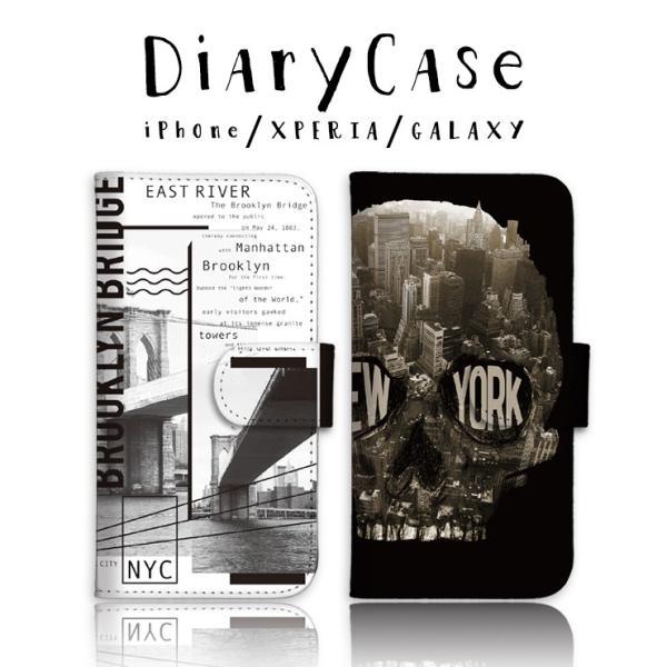 スマホケース 手帳型 アイフォン8 ケース iPhone11 手帳型 横 ニューヨーク ロゴ ドクロ メンズ 手帳ケース レザー|301-shop