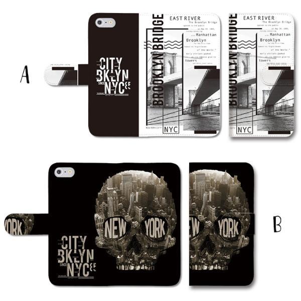 スマホケース 手帳型 アイフォン8 ケース iPhone11 手帳型 横 ニューヨーク ロゴ ドクロ メンズ 手帳ケース レザー|301-shop|02