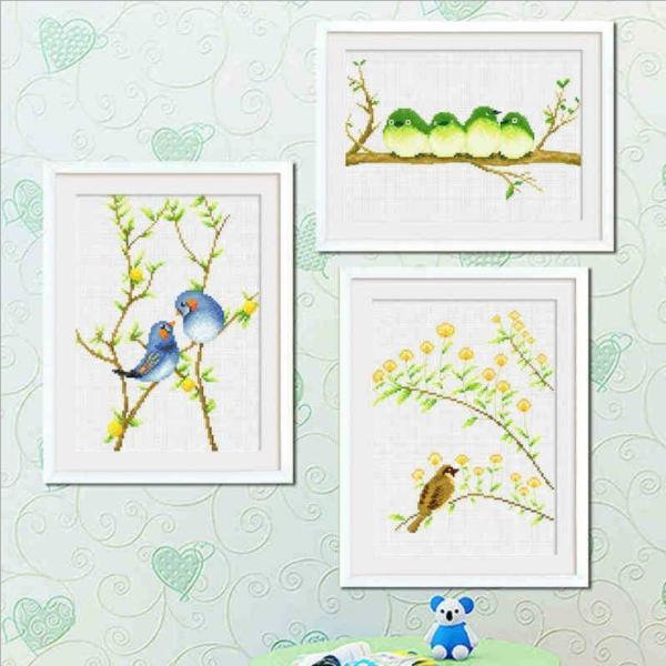 クロスステッチ 刺繍キット 鳥の花  3枚セット   初心者 簡単 刺繍 送料無料|34618