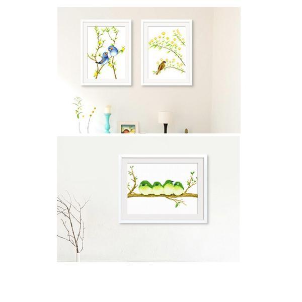 クロスステッチ 刺繍キット 鳥の花  3枚セット   初心者 簡単 刺繍 送料無料|34618|02