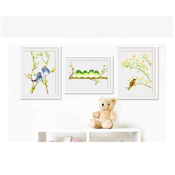 クロスステッチ 刺繍キット 鳥の花  3枚セット   初心者 簡単 刺繍 送料無料|34618|04