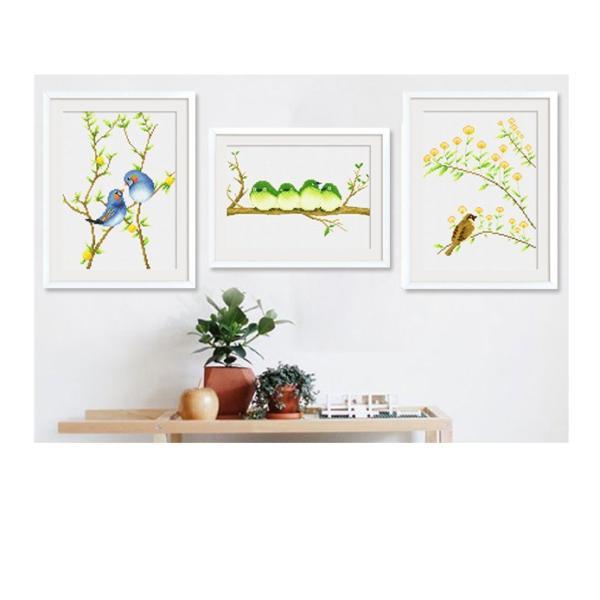 クロスステッチ 刺繍キット 鳥の花  3枚セット   初心者 簡単 刺繍 送料無料|34618|05