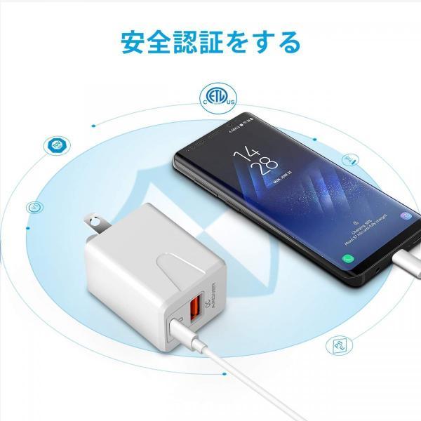 USBポート Type-C to Type-Cケーブル1m セット Type-C 18W USB急速充電器 ACアダプター コンセント Phone/iPad/Android USB機器各種対応 34618 06