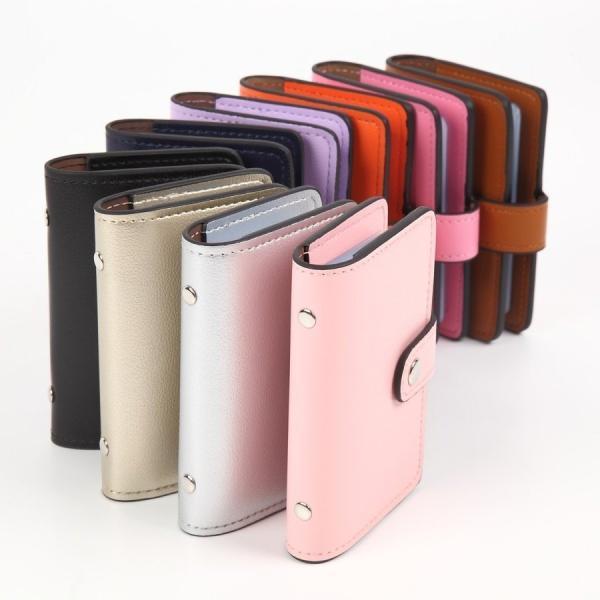 カードケース 磁気防止 薄型 レザー 大容量 カード入れ  全9色 22枚収納 男女兼用 ギフトケース付 プレゼント ハンドスピナー付属|34618|14