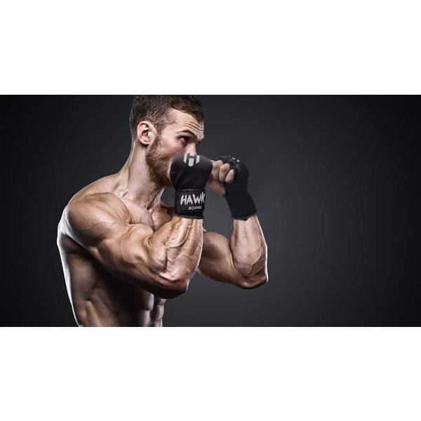Hawk Padded Inner Gloves Training Gel Elastic Hand Wraps for Boxing S//M Black