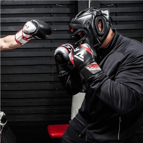 RDX Maya Hide Leather Boxing MMA Headgear Head Guard Sparring Helmet Fighting Protector