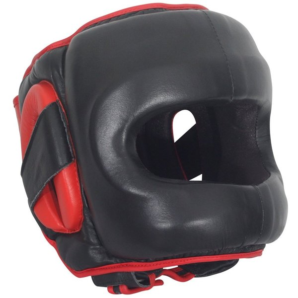 Black Ringside Deluxe Face Saver Boxing Headgear Red