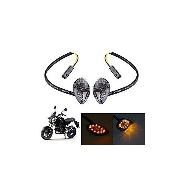 1 Pair Motorcycle Amber LED Turn Signals Light Eye Shape Flush Front Rear Turn Signal Light For Honda Grom 2014-2016
