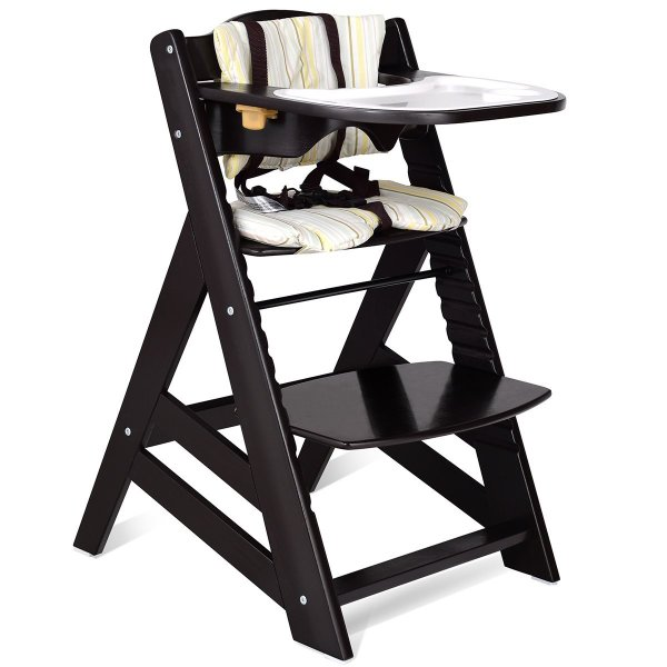 Costzon Wooden Highchair, Baby Dining Chair with Adjustable Height, Re 36hal01