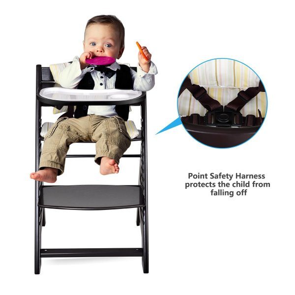 Costzon Wooden Highchair, Baby Dining Chair with Adjustable Height, Re 36hal01 02