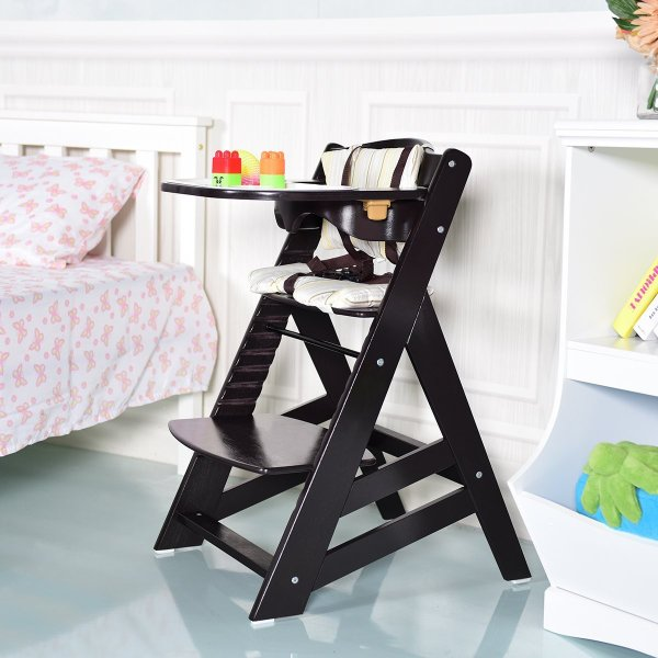 Costzon Wooden Highchair, Baby Dining Chair with Adjustable Height, Re 36hal01 03