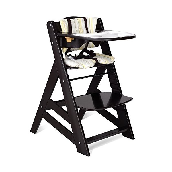 Costzon Wooden Highchair, Baby Dining Chair with Adjustable Height, Re 36hal01 04