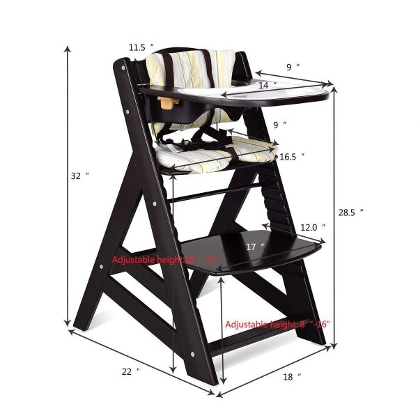 Costzon Wooden Highchair, Baby Dining Chair with Adjustable Height, Re 36hal01 06