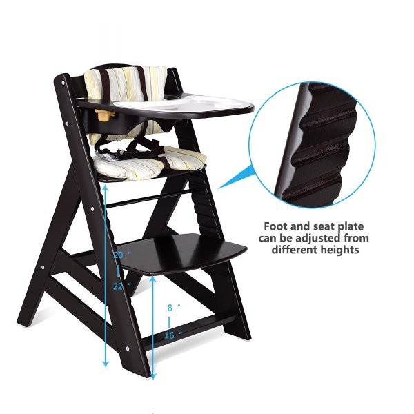 Costzon Wooden Highchair, Baby Dining Chair with Adjustable Height, Re 36hal01 07