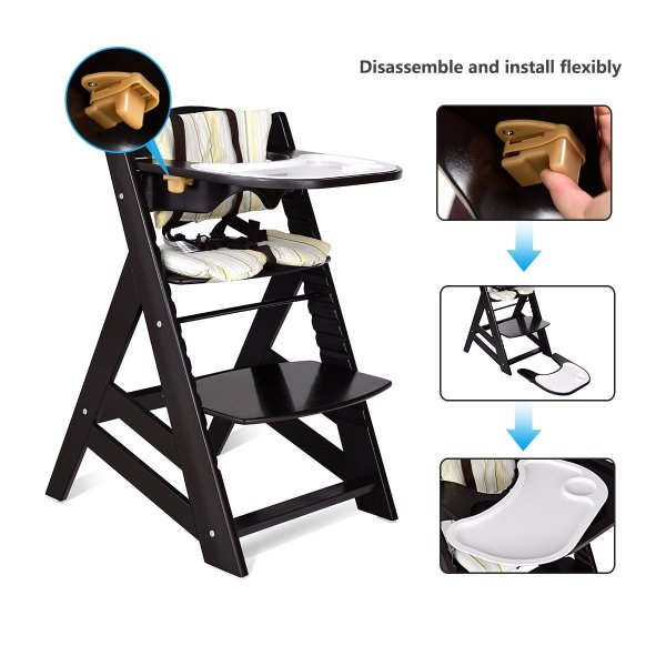Costzon Wooden Highchair, Baby Dining Chair with Adjustable Height, Re 36hal01 09