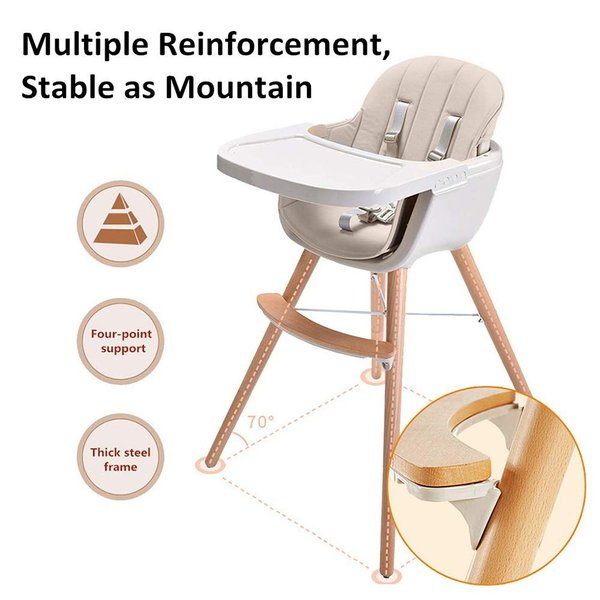 Ambermier Kids Wood High Chair, Perfect 3 in 1 Convertible Highchair w|36hal01
