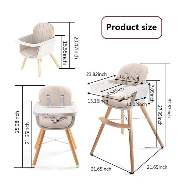 Ambermier Kids Wood High Chair, Perfect 3 in 1 Convertible Highchair w|36hal01|03