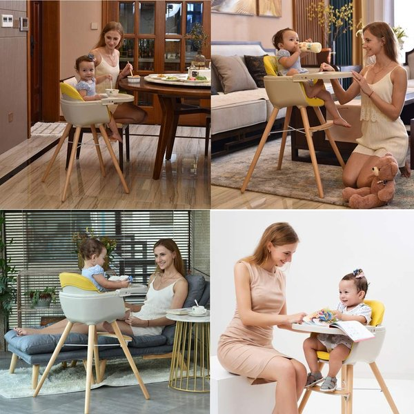 Ambermier Kids Wood High Chair, Perfect 3 in 1 Convertible Highchair w|36hal01|06