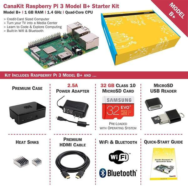 32GB EVO+ Edition, Premium Black Case CanaKit Raspberry Pi 4 4GB Starter Kit 4GB RAM