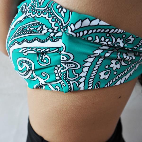 Bandeau High-waist Bikini《GRN》ビキニ プチプラ パッド付 インポート 水着|38search|04