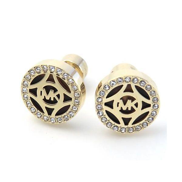 33318d44c7ea マイケルコース MICHAEL KORS MKJ4275710 Pave Logo Gold-Tone Open Stud Earrings パヴェ  ロゴ カット ...