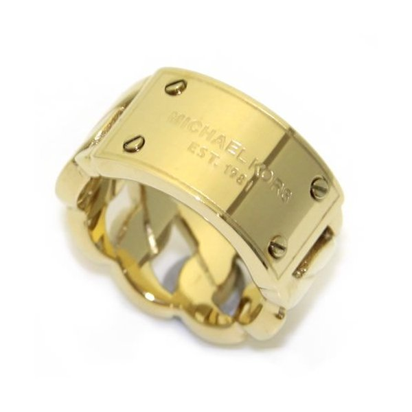 6bb5576077a5 マイケルコース MICHAEL KORS Gold Tone Curb Chain with Logo Plaque Ring ロゴプレート  カーブチェーン ...