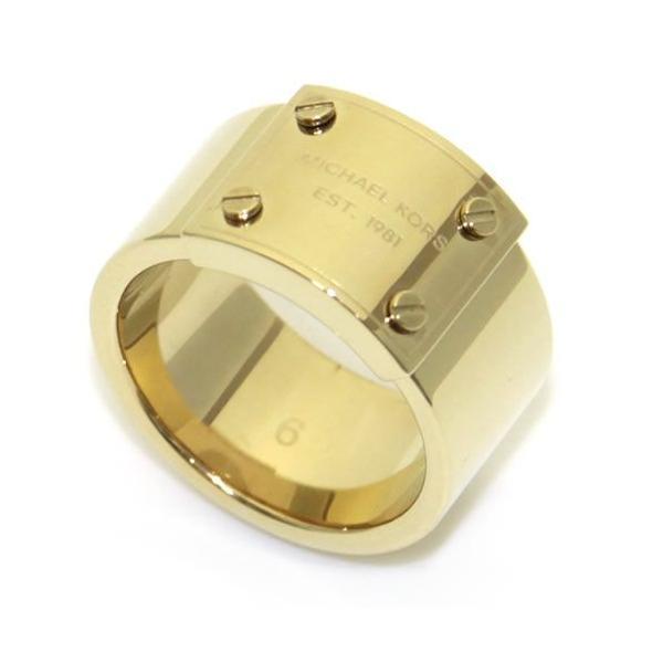 22594f86d89e マイケルコース MICHAEL KORS Gold Tone Logo Plaque Ring ロゴプレート リング サイズ6 (日本 ...