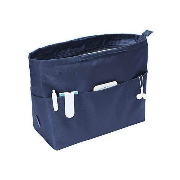 APSOONSELL大容量バッグインバッグ13ポケットトートバック用バックインバック大きめレディース(ネイビークラシック型)