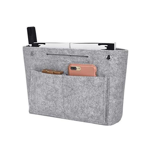 Newseegoバッグインバッグフェルトインナーバッグ軽量バッグポーチバッグの中を整理整頓バックインバッグ(L-グレーL)
