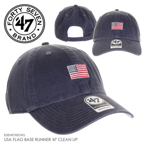 47BRAND フォーティーセブンブランド キャップ メンズ USA FLAG BASE RUNNER '47 CLEAN UP BSRNR198GWS 2018秋冬 ネイビー ワンサイズ 3direct