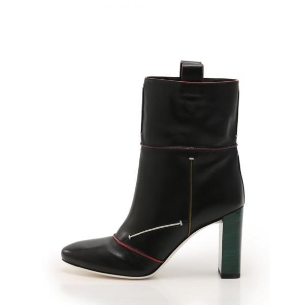 超美品 FENDI フェンディ ブーツ レザー 黒 マルチカラー メーカーサイズ40 参考サイズ27cm【本物保証】