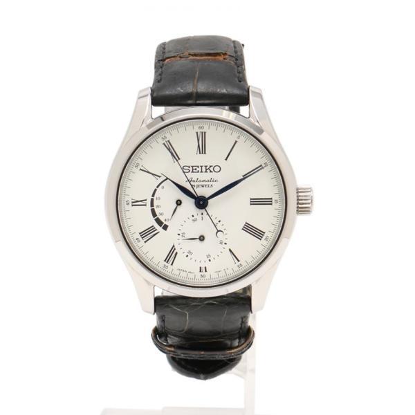 美品 SEIKO セイコー プレサージュ メンズ 腕時計 SARW011 6R27-00F0 自動巻き SS レザー 白 シルバー パワーリザーブ【本物保証】