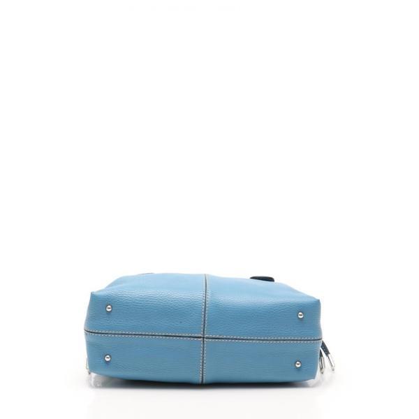 美品 TOD'S トッズ ハンドバッグ レザー 水色 ライトブルー レディース【本物保証】